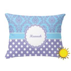 Purple Damask & Dots Outdoor Throw Pillow (Rectangular) (Personalized)