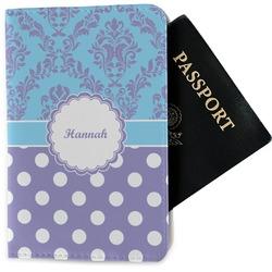 Purple Damask & Dots Passport Holder - Fabric (Personalized)