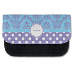 Purple Damask & Dots Canvas Pencil Case w/ Name or Text