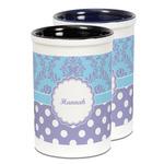 Purple Damask & Dots Ceramic Pencil Holder - Large