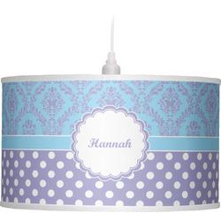 Purple Damask & Dots Drum Pendant Lamp (Personalized)