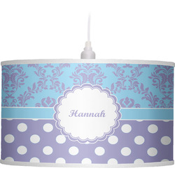 Purple Damask & Dots Drum Pendant Lamp (Personalized)