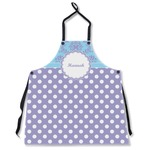 Purple Damask & Dots Apron Without Pockets w/ Name or Text