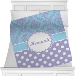 "Purple Damask & Dots Fleece Blanket - Twin / Full - 80""x60"" - Single Sided (Personalized)"