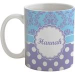 Purple Damask & Dots Coffee Mug (Personalized)