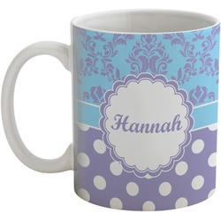 Purple Damask & Dots Coffee Mug (Personalized)