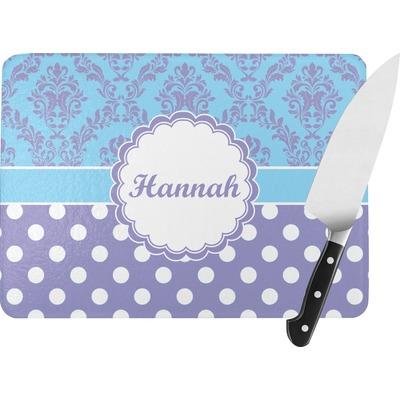 Purple Damask & Dots Rectangular Glass Cutting Board (Personalized)