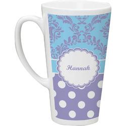 Purple Damask & Dots Latte Mug (Personalized)