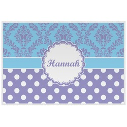 Purple Damask & Dots Laminated Placemat w/ Name or Text