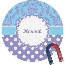 Purple Damask & Dots Round Magnet (Personalized)