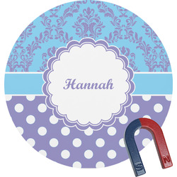 Purple Damask & Dots Round Magnet (Personalized)