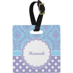 Purple Damask & Dots Plastic Luggage Tag - Square w/ Name or Text