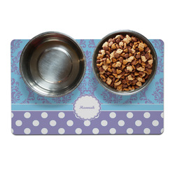Purple Damask & Dots Pet Bowl Mat (Personalized)