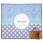 Purple Damask & Dots Outdoor Picnic Blanket (Personalized)