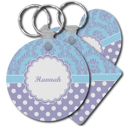 Purple Damask & Dots Plastic Keychains (Personalized)