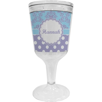 Purple Damask & Dots Wine Tumbler - 11 oz Plastic (Personalized)