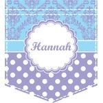 Purple Damask & Dots Iron On Faux Pocket (Personalized)