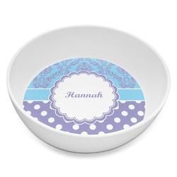 Purple Damask & Dots Melamine Bowl 8oz (Personalized)