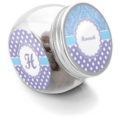 Purple Damask & Dots Puppy Treat Jar (Personalized)