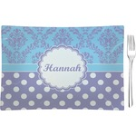 Purple Damask & Dots Glass Rectangular Appetizer / Dessert Plate - Single or Set (Personalized)