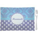 Purple Damask & Dots Glass Rectangular Appetizer / Dessert Plate - Single or Set (Personalized)