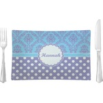 Purple Damask & Dots Glass Rectangular Lunch / Dinner Plate - Single or Set (Personalized)