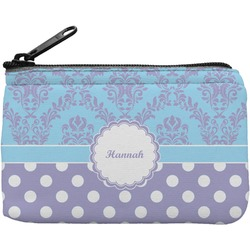 Purple Damask & Dots Rectangular Coin Purse (Personalized)