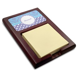 Purple Damask & Dots Red Mahogany Sticky Note Holder (Personalized)