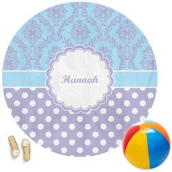 Purple Damask & Dots Round Beach Towel (Personalized)