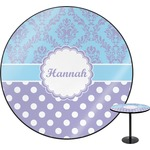 Purple Damask & Dots Round Table (Personalized)