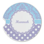 Purple Damask & Dots Sandstone Car Coasters (Personalized)