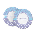 Purple Damask & Dots Sandstone Car Coasters (Personalized)