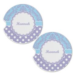Purple Damask & Dots Sandstone Car Coasters - Set of 2 (Personalized)