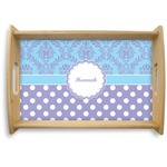 Purple Damask & Dots Natural Wooden Tray (Personalized)
