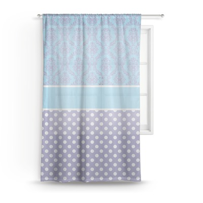 Purple Damask & Dots Sheer Curtains (Personalized)