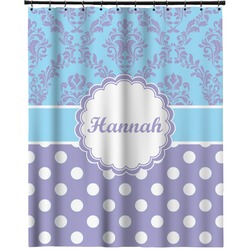 """Purple Damask & Dots Extra Long Shower Curtain - 70""""x84"""" (Personalized)"""