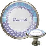 Purple Damask & Dots Cabinet Knob (Silver) (Personalized)