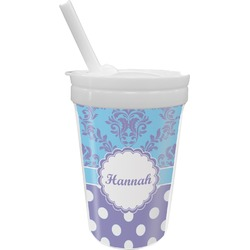 Purple Damask & Dots Sippy Cup with Straw (Personalized)