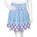 Purple Damask & Dots Skater Skirt (Personalized)