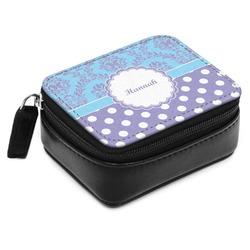 Purple Damask & Dots Small Leatherette Travel Pill Case (Personalized)