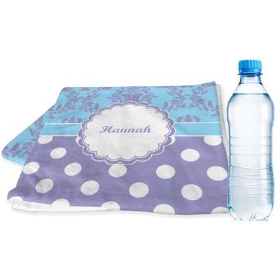 Purple Damask & Dots Sports & Fitness Towel (Personalized)