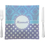 """Purple Damask & Dots Glass Square Lunch / Dinner Plate 9.5"""" - Single or Set of 4 (Personalized)"""