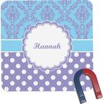 Purple Damask & Dots Square Fridge Magnet (Personalized)