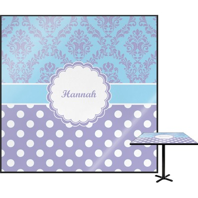 Purple Damask & Dots Square Table Top (Personalized)