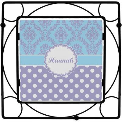Purple Damask & Dots Square Trivet (Personalized)