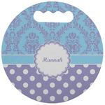 Purple Damask & Dots Stadium Cushion (Round) (Personalized)