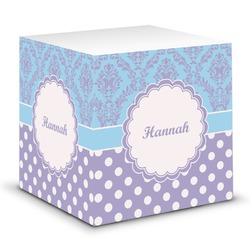 Purple Damask & Dots Sticky Note Cube (Personalized)
