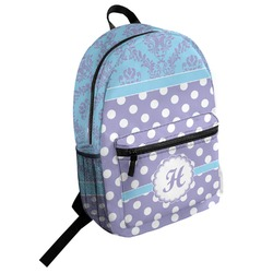 Purple Damask & Dots Student Backpack (Personalized)