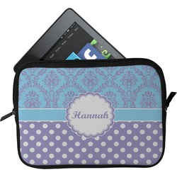 Purple Damask & Dots Tablet Case / Sleeve (Personalized)