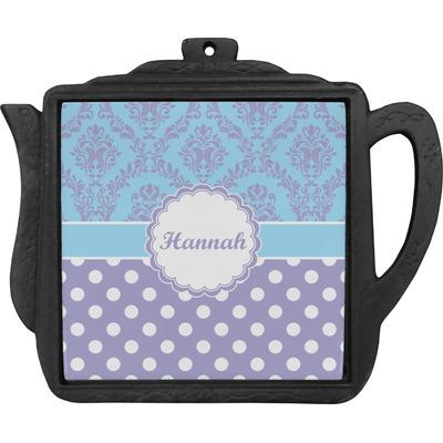 Purple Damask & Dots Teapot Trivet (Personalized)
